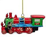 BestPysanky Steam Train Blown Glass Christmas Ornament 5.25 Inches