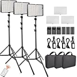 FOSITAN 3 Set LED Video Studio Light Kit, Bi-color 336 LED 3200K-5600K Dimmable 2350 Lux CRI 96+, 75 inches Light Stand, Rechargeable Battery+Charger, Power Adapter, 24W