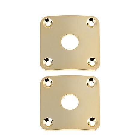 Broadroot 2 piezas cuadradas de cubiertas de enchufe para guitarra eléctrica, dorado