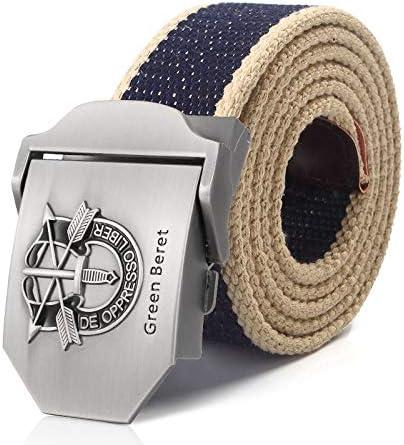 WDYDDW Men'S Belt Men&Women Military Canvas Belt Beret Metal