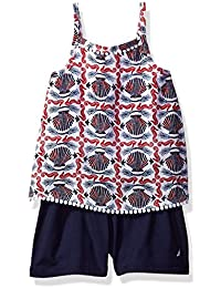 Nautica Girls' One Piece Printed Romper with Challis Top...