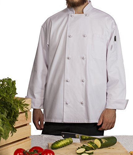 (Chef's Pride Unisex Chef Coat - Double Breasted Long Sleeve Chef Jacket with Cloth Knotted Buttons- Poly Cotton Blend)