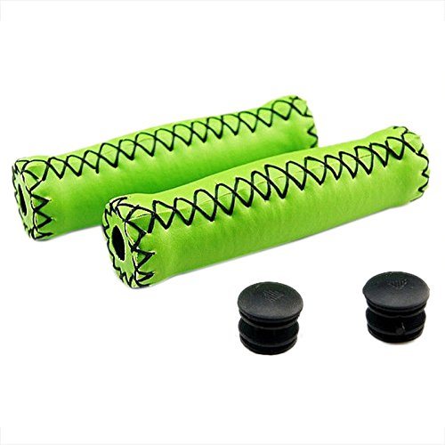 Grips Cover   Sodial R Pair Vintage Leather Bicycle Grips Grips Trekking Handlebars Cover Colour  Green