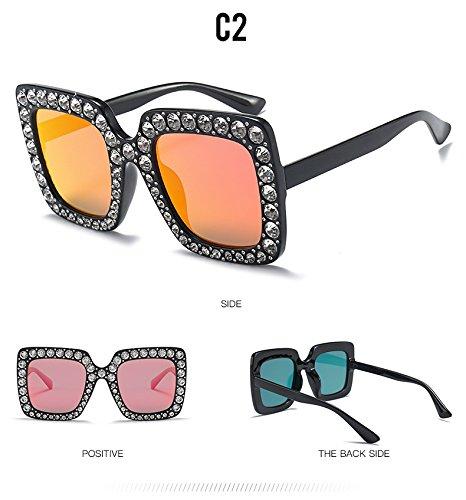 Gafas Crystal Plaza Anteojos Diamantes Para C7 Sol Sobredimensionado C2 Grande Bastidor De De TIANLIANG04 Mujer Gafas qwHRRT