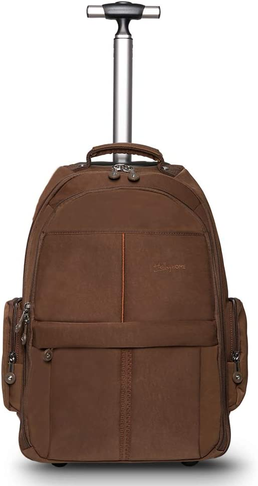 HollyHOME 19 inches Wheeled Rolling Backpack for Men and Women Business Laptop Travel Backpack Bag, Brown