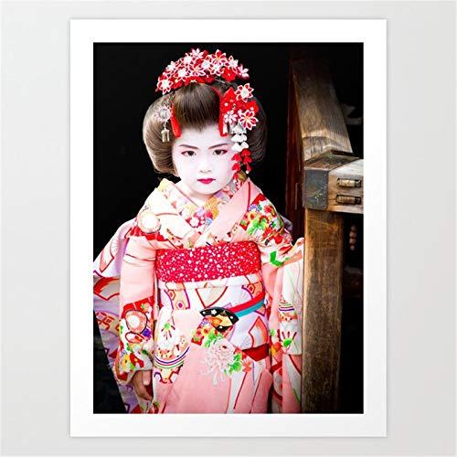 yaonuli Japanese-geishan-Girl-Prints Pinturas al oleo Impresas en Lienzo Retrato de Impresiones artisticas de Pared Carteles e Impresiones Cuadros de Pared Pintura sin Marco 30x45cm