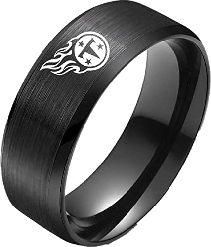 New Tennessee Volunteers Black Stainless Steel Engraved Ring Sizes 6-13