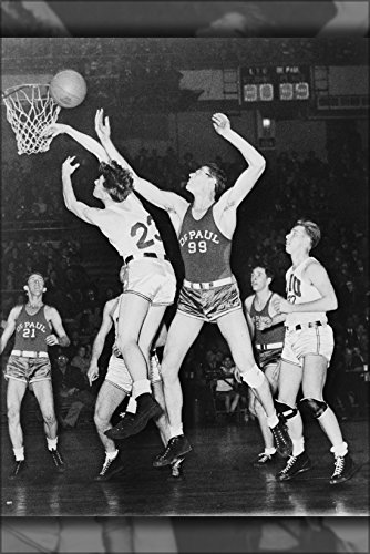 42x63 Poster; George Mikan(99) And Jack Allen (21) Of Depaul University And Carl Meinhold (23), Elmer Benyak (27) Of Long Island University During Basketball Game At Madison Square Garden, New York 1944 ()