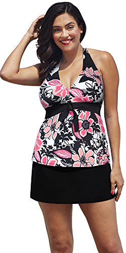 Shore-Club-Rosewood-Plus-Size-Tie-Front-Halter-Slit-Skirtini-Womens-Swimsuit-BlackPink-Size16