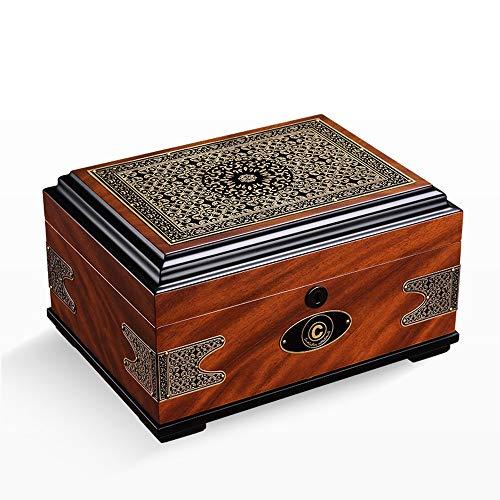Jian E - (cigar box) - Cigar moisturizing alcoholized Box European Retro Printing Cedar Solid Wood Large Capacity by Jian E - (cigar box) (Image #2)