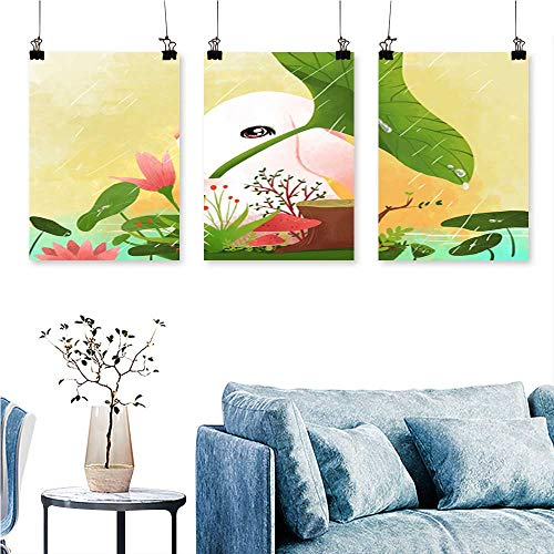 SCOCICI1588 Three Consecutive Painting Frameless Springtime Spoil Wallpaper Artwork for Wall Decor Triptych 16 INCH X 30 INCH X 3PCS