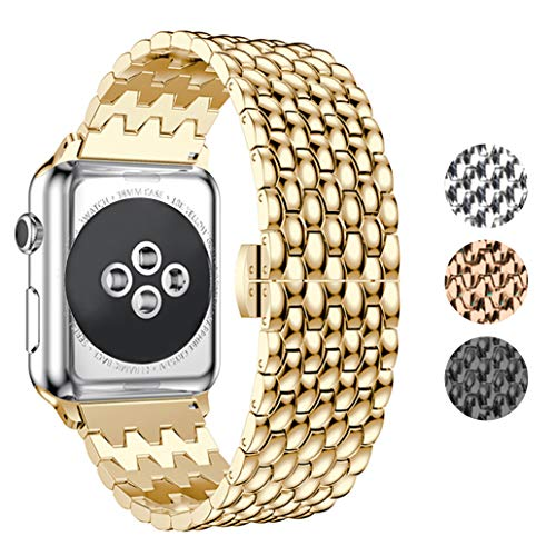 (Kwlet Metal Bands Compatible with 38mm Apple Watch Band 40mm Gold Stainless Steel Band Wristband Band Chain Link Replacement Bands for iwatch Series 4 Series 3 Series 2 Series 1)