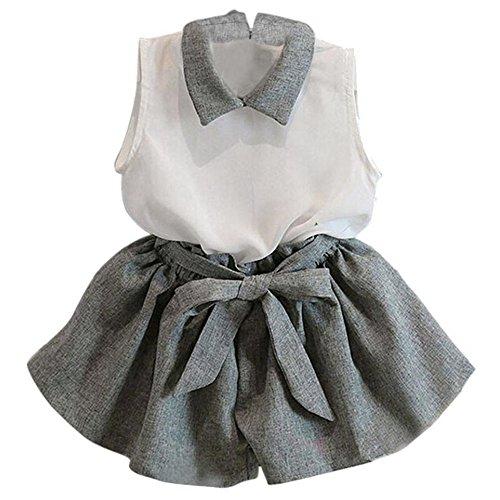 TOPUNDER 1-6Years Girls Sleeveless White Chiffon Vest+Gray Bowknot Shorts Set (Age:1-2Y, ()