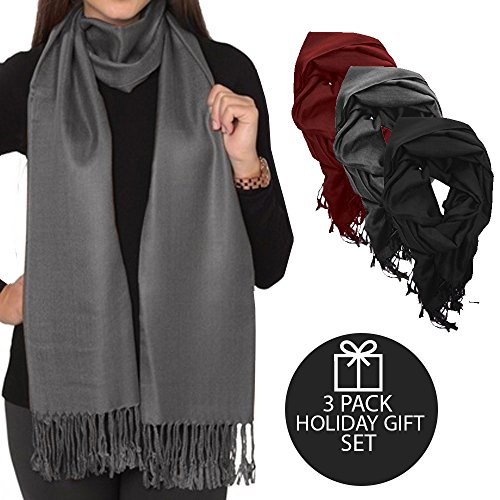 LifeShop Womens Luxurious Throw Over Pashmina Style Scarfs - 3 Pack Holiday Gift Set