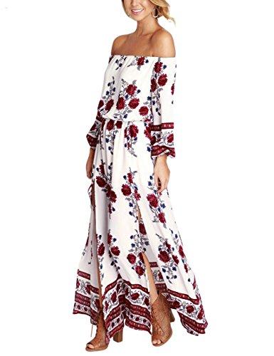 GloryStar Women Off Shoulder Bohemia Floral Print Split Beach Maxi Dress L