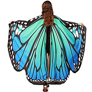 Luckcome Butterfly Flowy Wings Shawl, Halloween/Party Prop Soft Fabric Costume Accessory for Women Adult