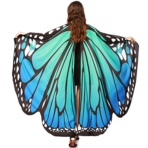 Luckcome Butterfly Flowy Wings Shawl, Halloween/Party Prop Soft Fabric Costume Accessory for Women Adult (Blue&Green) ()