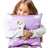 "AerWo Unicorn Pillow Cover Throw Pillow Case Rainbow Style Backside Unicorn Cushion for Nursery Décor Girls Room 18X18""/45X45cm (1pcs)"