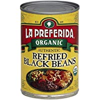 La Preferida Organic Refried Black Beans, 15 oz (Pack of 12)
