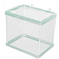 uxcell Aquarium Fish Tank Floating Box Isolation Shrimp Cage Breeding Net White Green