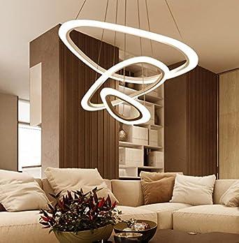 Ringleuchte 3 Drei Ringe Hngelampe Wohnzimmer Modern Dimmbar Lampe 2835 Led Strip Esstischlampe Rund Drahtseil Acryl