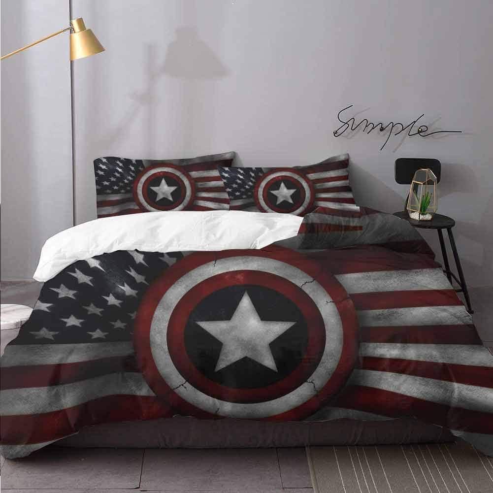 Captain America Us Flag 3 Piece Duvet Cover Set