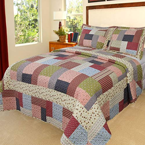 OVS 3 Piece Beautiful Blue Pink Red Green White Queen Quilt Set, Tartan Plaid Patchwork Themed Bedding Cottage Cabin Country Vintage Western Lodge Checkered Shabby Chic Floral Paisley Stripe, Cotton