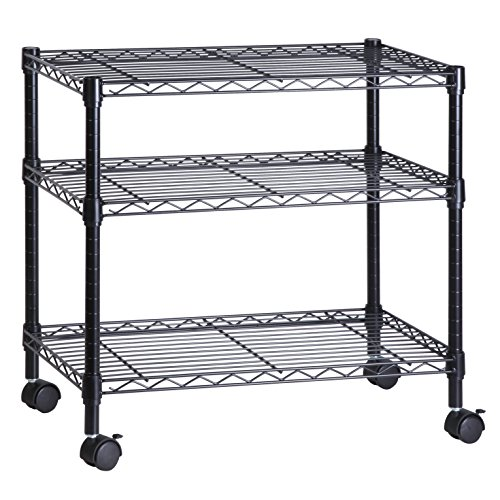 Honey-Can-Do CRT-04050 3-Shelf Rolling Media Cart with Locking Wheels, Steel Construction