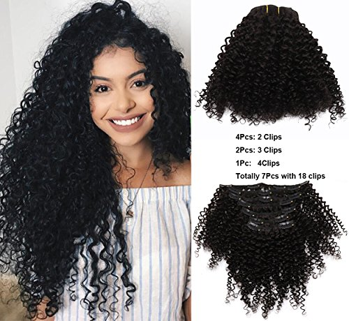 "Search : VGTE Beauty Brazilian Afro Kinky Curly Human Virgin Hair Natural Black Color African American Clip In Hair Extensions 100Gram 7Pcs/Set(10"")"