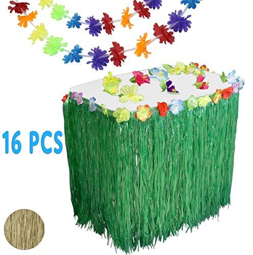 Luau Hawaiian Party Supplies Set w/ 9' Green Grass Table Skirt, 12 Hibiscus Blossoms, & 3 Long 9' Flower Lei (Aloha Leis)
