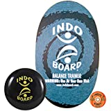 """INDO BOARD Original Balance Board for Improving Balance or Use With Standing Desk - Comes with 14"""" Adjustable Cushion and Non-Slip Wood Deck - Blue Swirl Design"""