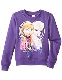 Disney Frozen Girls' Anna and Elsa Crew-Neck Sweatshirt