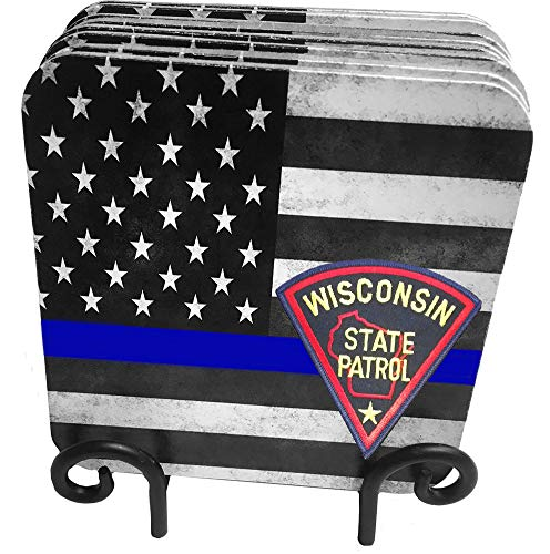 (50 States Highway Patrol, State Patrol, State Police 9 Pc Hardboard Coasters with Metal Stand (Wisconsin))