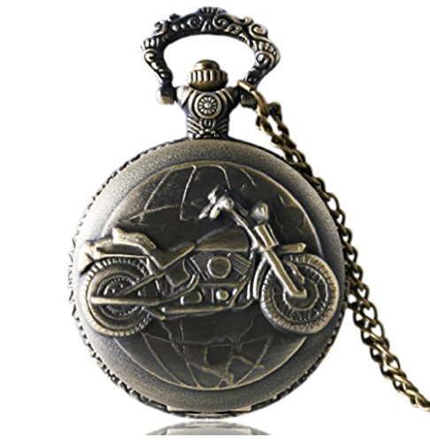 Motorcycle Antique Bronze Quartz Pocket Watch with 30