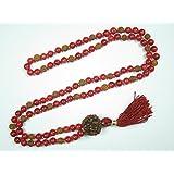 Mogul Interior Coral Rudraksha Japamala Mala beads Gift Idea