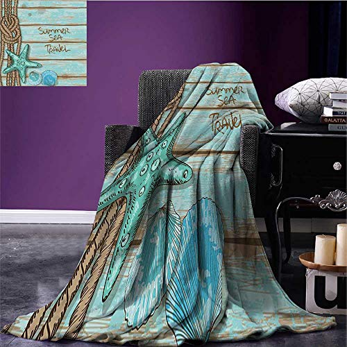 (Starfish Decor Digital Printing Blanket Summer Sea Travel Retro Boards of Ship Deck Rope Scallops Coverlet Brown Mint Green Turquoise Bed or Couch 50