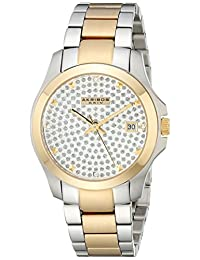 Akribos XXIV Women's AK579TT Impeccable Crystal Pave Stainless Steel Bracelet Watch