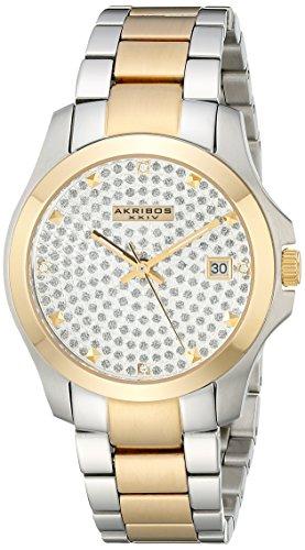 Akribos XXIV Women's AK579TT Impeccable Crystal Pave Stainless Steel Bracelet Watch