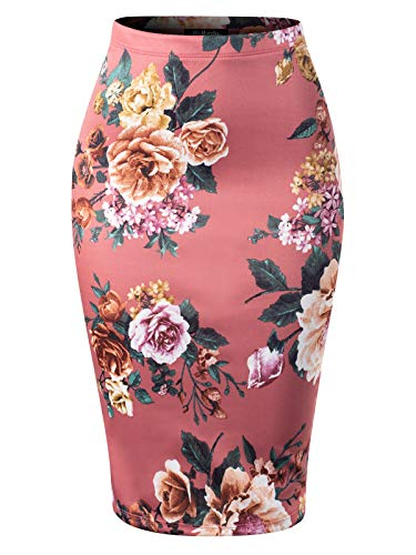 MixMatchy Women's High Waist Bodycon Office Midi Floral Print Pencil Skirt Brick M (Best Kind Of Flat Iron)