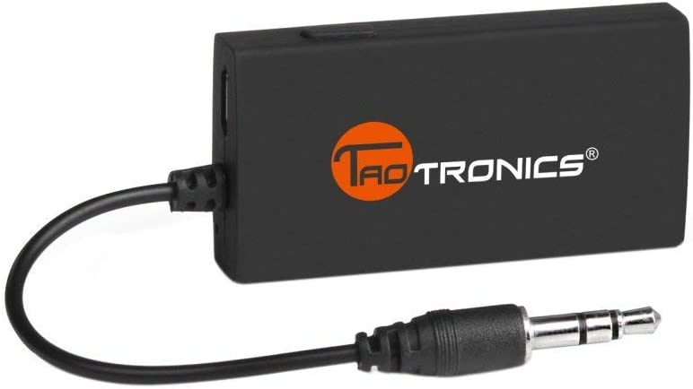 Upgraded Version TaoTronics Portable Bluetooth Transmitter for TV, AptX Low Latency Wireless Audio Adapter for 3.5mm Stereo, Pairs Bluetooth Headphones/Speakers