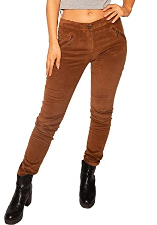 332ce93e76 LUiZACCO Pantalón Pana Estilo Slim Skinny para Mujer - Marrón - 38   Amazon.es  Ropa y accesorios