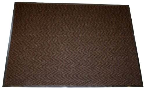 Durable Vinyl Chevron Rib Indoor Entrance Mat,  3' x 5', Brown