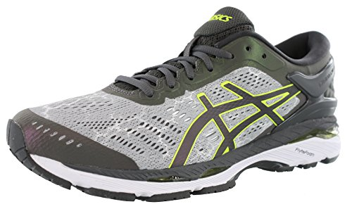 Asics Mens Kayano 24 Lite Mid Grey/Dark Grey/Safety Yellow Running Shoe - 13