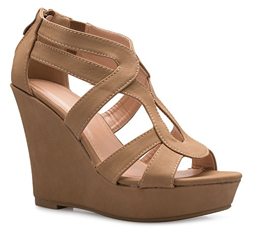 - OLIVIA K Women's Strappy Water Dot Cut Out Wedge Sandals - Sexy Open Toe Heel - Comfort, Fasionable, Casual Style