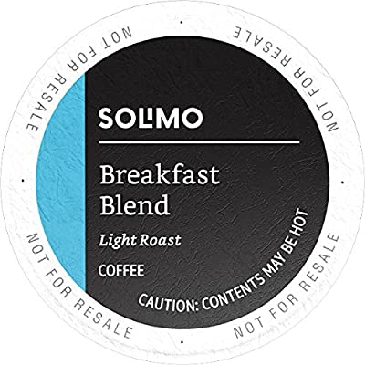 Amazon Brand - 100 Ct. Solimo Light Roast Coffee Pods, Breakfast Blend, Compatible with Keurig 2.0 K-Cup Brewers by Amazon.com Services, Inc.