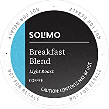 Amazon Brand - 100 Ct. Solimo Light Roast Coffee K-Cup Pods, Breakfast Blend, Compatible with 2.0 K-Cup Brewers