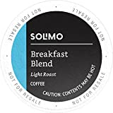 Amazon Brand - 100 Ct. Solimo Light Roast Coffee Pods, Breakfast Blend, Compatible with 2.0 K-Cup Brewers