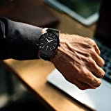 Wrist Watches for Men Black - Timsty Mens Luxury Business Dress Water Resistant Watches with Simple Fashion Design,Calendar and Stainless Steel Strap (Watch Link Pin Remover Included)
