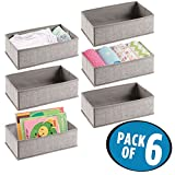 mDesign Soft Fabric Dresser Drawer and Closet Storage Organizer Set for Child/Baby Room, Nursery, Playroom, Bedroom - Rectangular Organizer Bins with Textured Print, 6 Pack - Linen