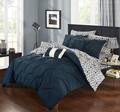 (Perfect Home 10 Piece Marly Pinch Pleated Printed Reversible complete Queen Bed In a Bag Comforter Set Navy With sheet set)